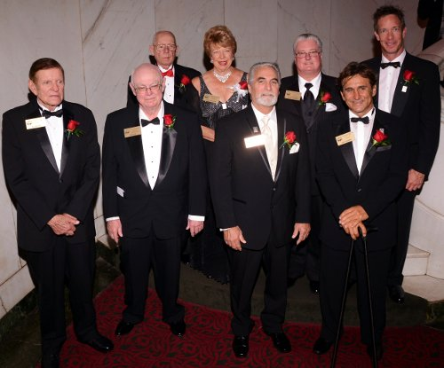 2013 MSHFA Honorees - 1st row: Bud Moore, Bob Riley, Brad Lackey and Alex Zanardi.  2nd row: Riddelle Gregory (for Masten Gregory), GiGi Carleton (for Robert E. Petersen), Steve Chrisman (for Jack Chrisman) and Nick Firestone (for Harvey Firestone).