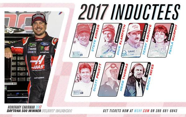 Seven For '17:  Kinser, Klamfoth, Labonte, Murphy, Pruett, Thomas, Yates  To Be Inducted Into Motorsports Hall Of Fame Of America On Wednesday Night