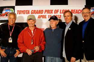 Hall of Famers Don Prudhomme and Parnelli Jones with MSHFA Class of 2012 members Ed Pink, Danny Sullivan and MSHFA President Ron Watson